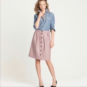 J Crew Wool Lined Button Up A-Line Skirt